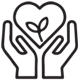 icon of hands framing a heart with a plant in it